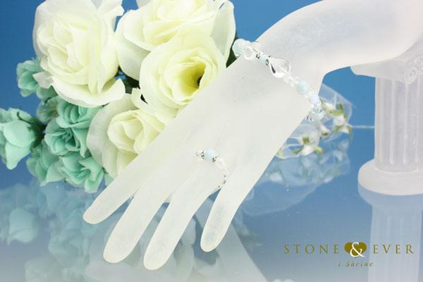 【誕生石3月】天然石ブレスレット&リング『アクアマリン』