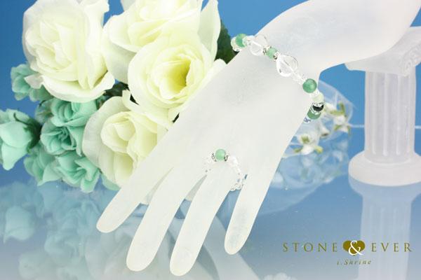 【誕生石5月】天然石ブレスレット&リング『アベンチュリン』