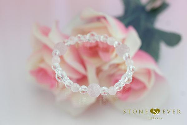 【恋愛運アップ】 天然石薔薇ブレスレット 『ローズクォーツ』